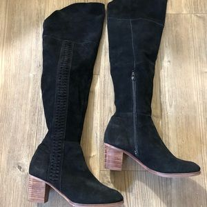 Black Suede Knee High Braided Boots